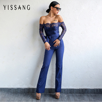 Yissang Elegant Off The Shoulder Lace Women Jumpsuit Black Long Sleeve Fitted Sexy Romper Backless Playsuit