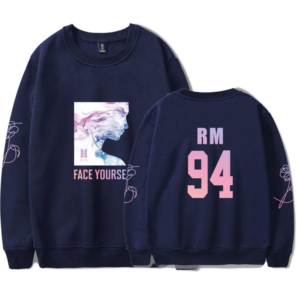 BTS K-pop Capless Sweatshirt Women Face Yourself Bangtan Boys Sweatshirt Hip Hop Female Fans Fashion Design Capless Autumn 4XL