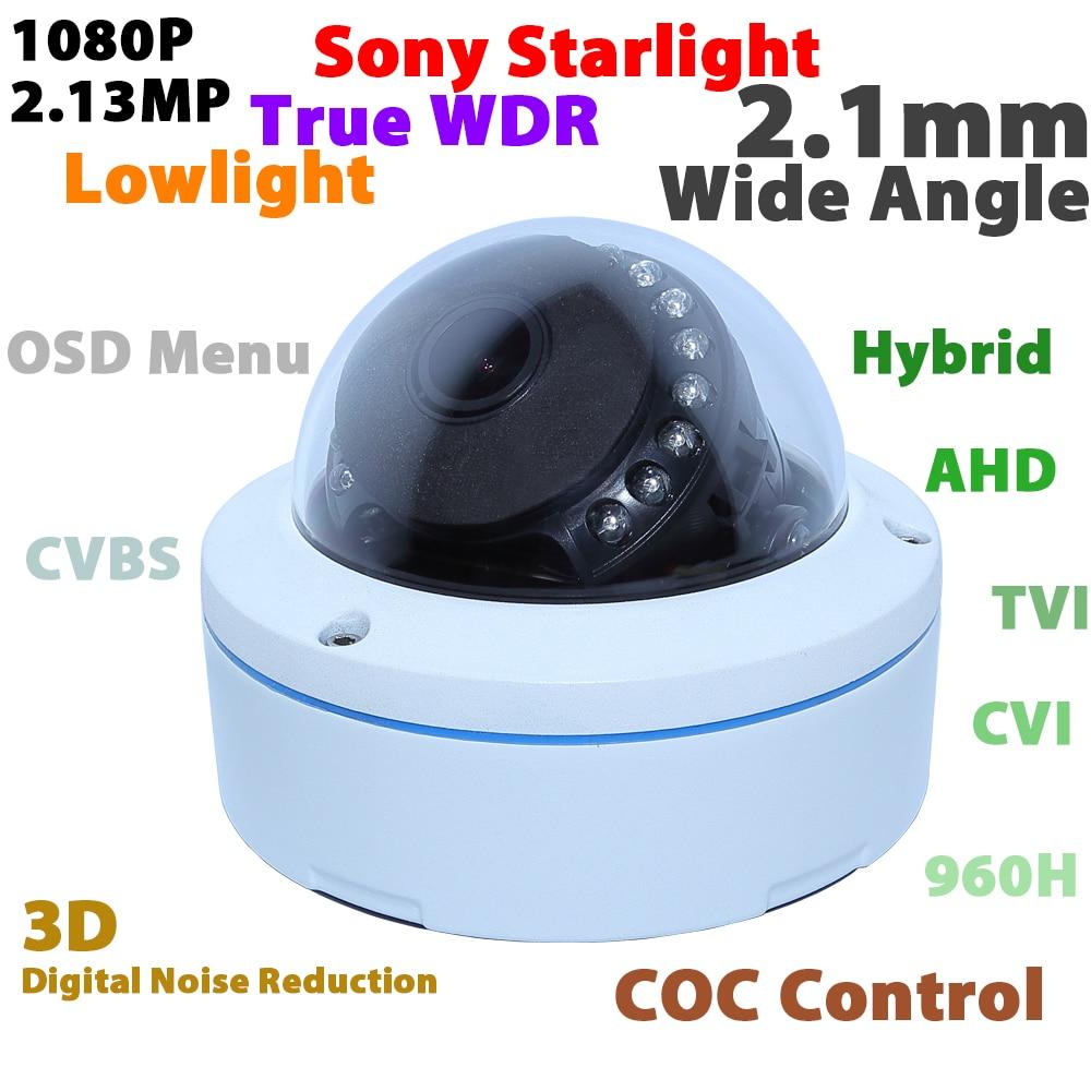 1080P Sony starlight WDR CMOS hybrid 4 in 1 analog TVI CVI AHD 960H security CCTV