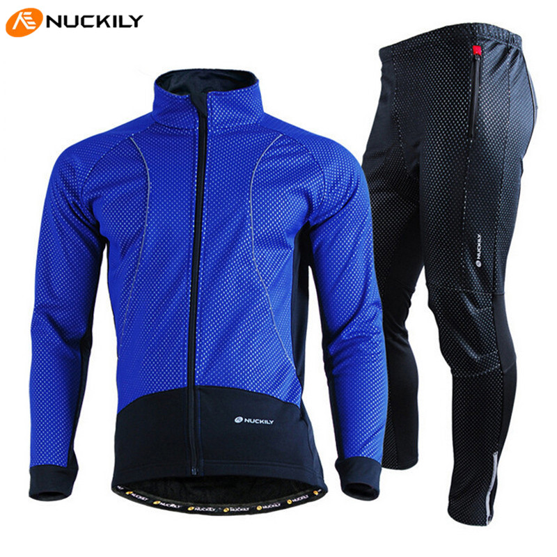 NUCKILY Cycling Jersey Windproof Thermal Fleece Ropa Ciclismo Men Winter Bike Outdoor Riding MTB Bicycle Cycling Jersey Set