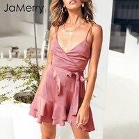 JaMerry 2018 Stain v neck strap sexy dress Women sash bow ruffles short dress Summer elegant party beach dress vestidos femme