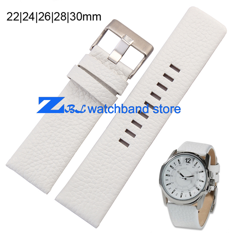 Genuine leather bracelet watchband width 22 24 26 28 30mm white Wrist watch band Soft and