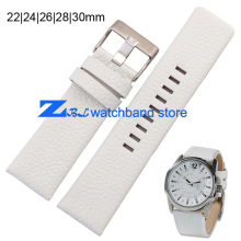Genuine leather bracelet watchband width 22|24|26|28|30mm white Wrist watch band Soft and comfortable watches band accessories