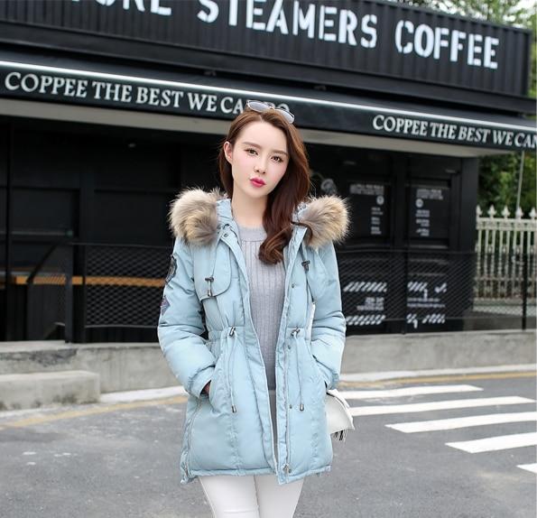New Nice Women's Winter Jacket Real Raccoon Fur Collar Winter Jacket Women Slim Long Thick Cotton Outwear Parka Plus Size AW1112 цены онлайн