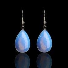 Handmade Fashion Natural Stone Opal Earrings Water Drop Earring Sector Quartz Gem Stone  Earrings Women Girls