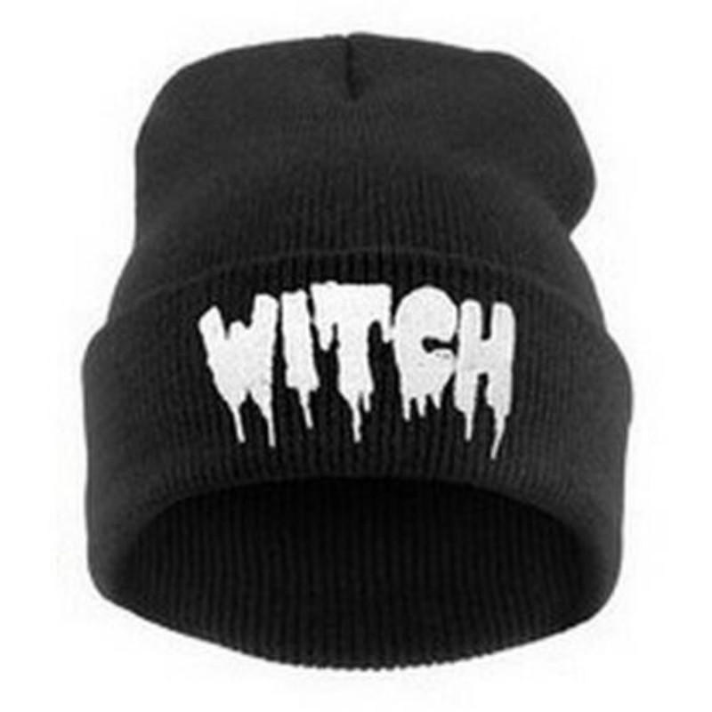 Europe and The United States Men and Women's Hip-Hop WITCH Embroidery Knitted Wool Elastic   Beanies   Hat Ski Cap RX087