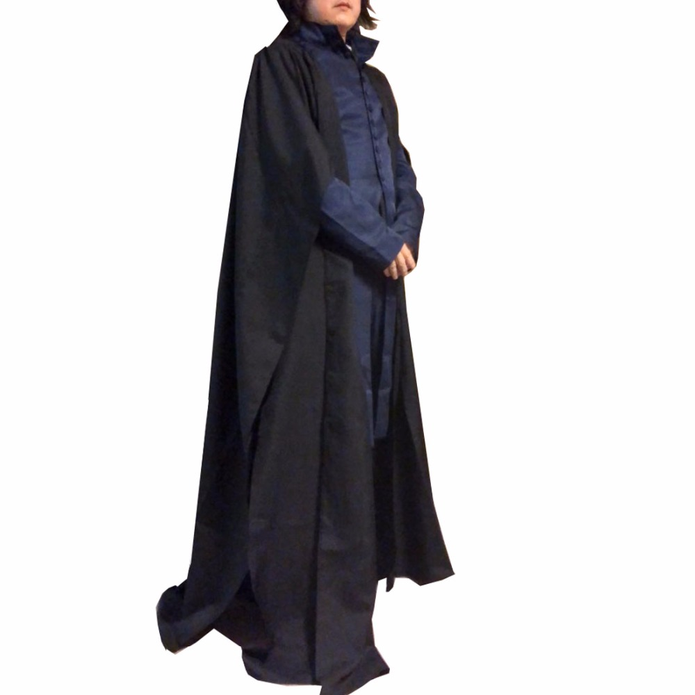 2018 Professor Severus Snape Cosplay Costume Cloak Black Robe Adult Men Hogwarts School Deathly Hallows Halloween Clothes Custom