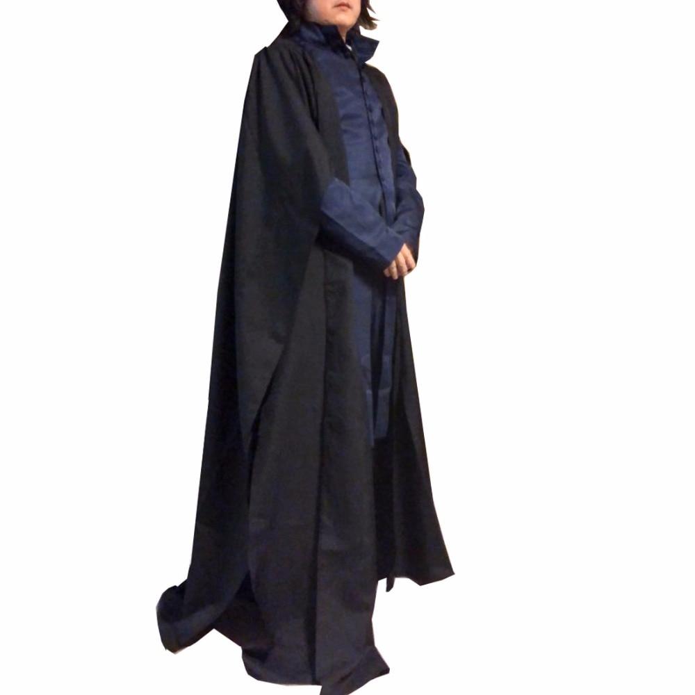 2018 Professor Severus Snape Cosplay Costume Cloak Black Robe Adult Men Hogwarts School Deathly Hallows Halloween Clothes Custom