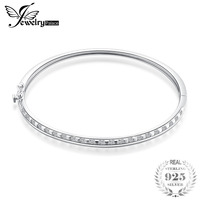 JewelryPalace Square Cut Cubic Zirconia Lock Clasp 925 Sterling Silver Bangle Bracelet Beautiful For Woman 2018 New Hot As Gifts