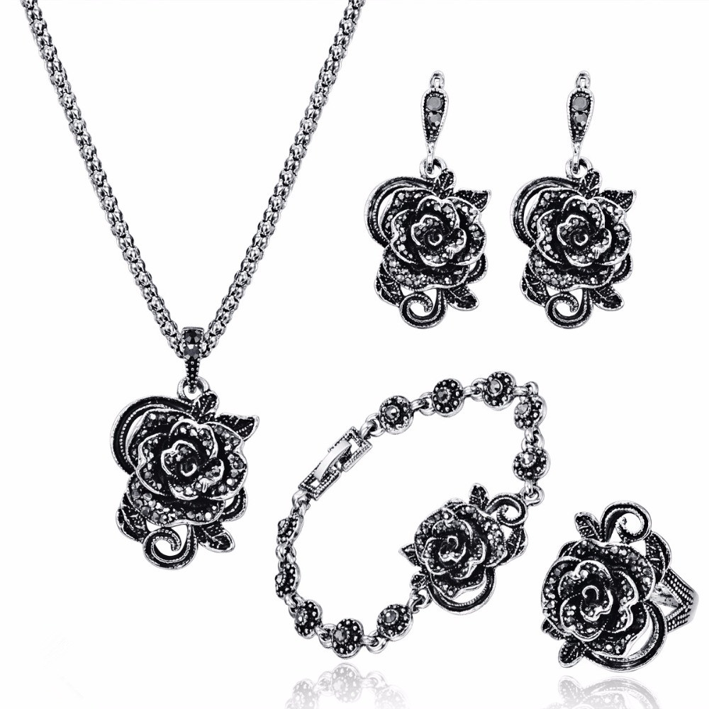 Black Crystal Rose Flower Jewelry Sets For Women Antique Silver Color Vintage Pendant Necklace Earrings Bracelet Ring Set