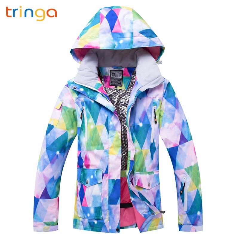 TRINGA marques femmes veste de Ski de haute qualité coupe-vent imperméable à l'eau chaude manteau de neige femme hiver Ski Snowboard veste Ski femmes