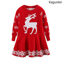 Kaguster Autumn Winter Christmas Elk girls kids sweaters dresses High Quality Tutu Princess Dress long sleeve Knitted Outerwears
