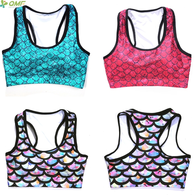 4aa20feef9f2e Green Mermaid Yoga Blusas Halter Sports Bra Candy-Color Glowing Fish Scale  Tank Top Running Vest Strappy Bra Seamless Padded