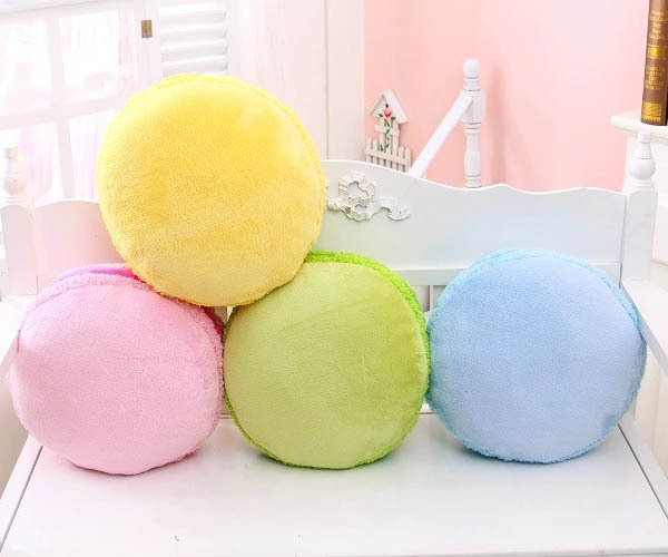lovely soft 37cm 3d round macaron cushions purple green pink filler throw decorative pillow home office chair patchwork pillows