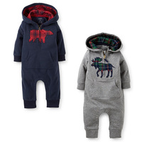 Baby Hooded Rompers Long Sleeve Jumpsuit Children Winter Clothing Baby Cotton Suit Boy Coverall Clothing Lovely