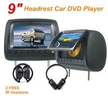 "Negro 2 unids 9 ""reposacabezas Monitor de Pantalla Digital de Coches Reproductor de DVD DVD Automotivo + LED Palanca de mando del JUEGO del USB SD FM IR"