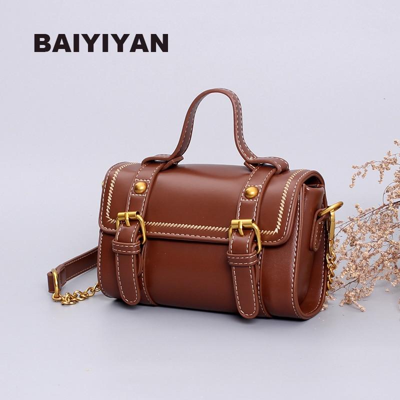 European and American Fashion Women's Shoulder Bag PU Leather Small Boston Bag Vintage Handbag Ladies Chain Crossbody Bag