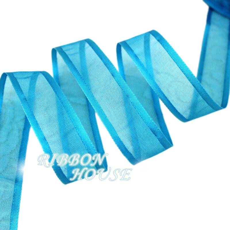 (10 ярдов/партия) 3/4 »(20 мм) озеро синий broadside органза ленты оптовая продажа подарочная упаковка украшения ленты