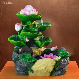 Lotus Desktop Feng Shui Rockery Water Fountain Ornaments Office Living Room Decor Small Fish Tank Waterscape Bonsai Humidifier