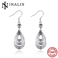 INALIS 925 Sterling Silver Wedding Jewelry For Woemn 2017 Vintage Solid Silver Dangle Earrings For Brides