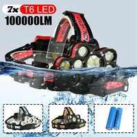 100000lm Smuxi Portable Headlight 7xt6 LED Head Lamp USB Rechargeable Flashlight Torch Head Light Fishing Lanterna Use 18650