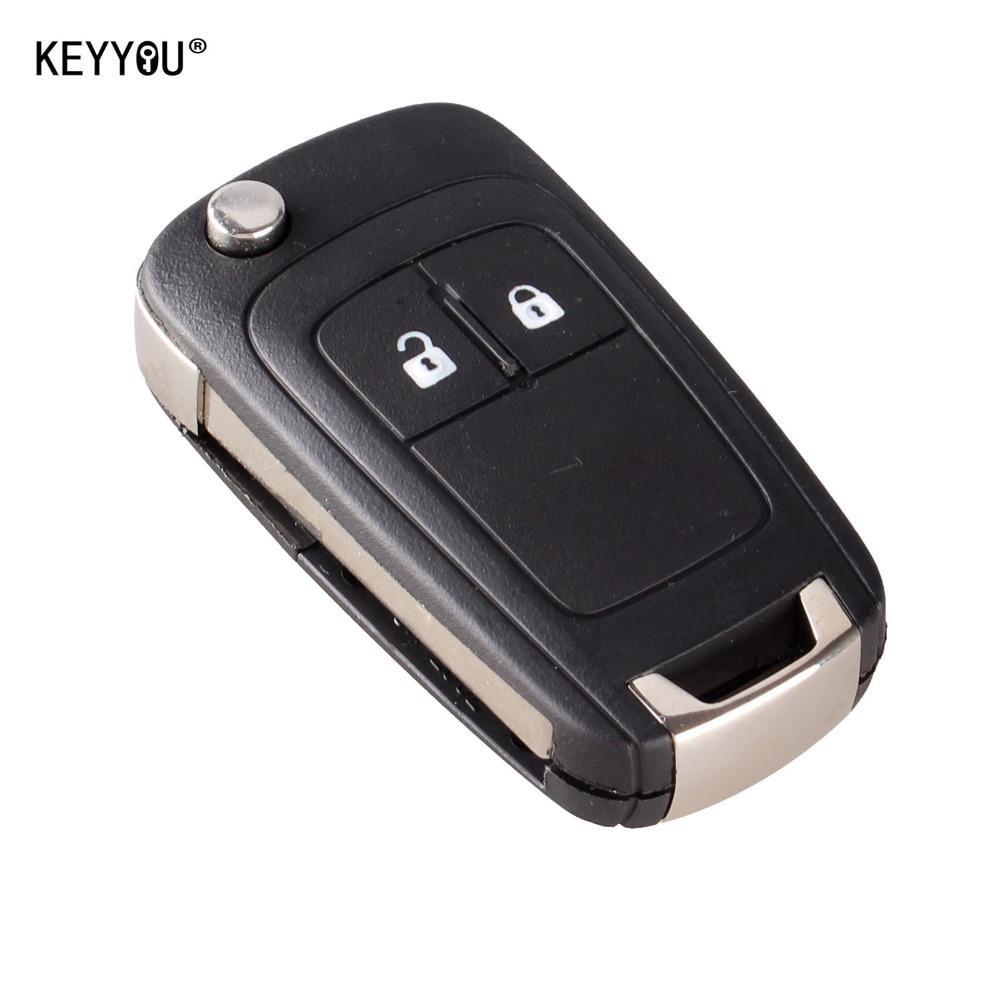 KEYYOU Flip Folding Remote Key Case For OPEL VAUXHALL Insignia Astra 2 Button HU100 Uncut Blade