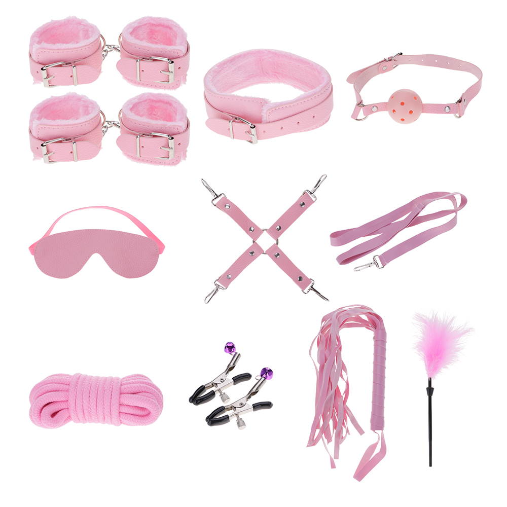 10Pcs Set Leather Toy SM Handcuffs Cuffs Strap Whip Rope Neck Cosplay Bandage