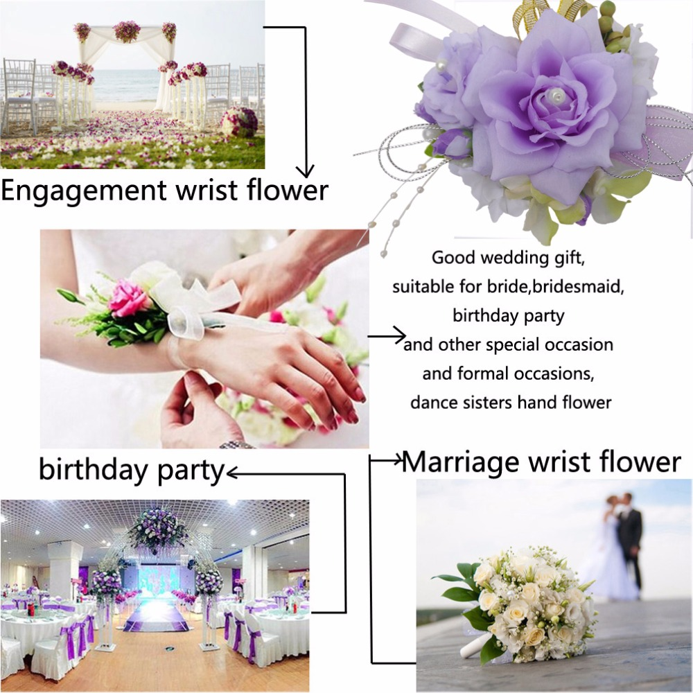 1pcs handcrafted wrist corsage bracelet artificial silk rose flowers 1pcs handcrafted wrist corsage bracelet artificial silk rose flowers for wedding hand flower bouquet for bride event supplies in artificial dried flowers izmirmasajfo