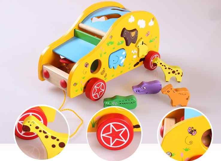 Kayu Pendidikan Pembelajaran Bayi Model Mobil Blok Bangunan Mainan Anak-anak Hewan Bentuk Perakitan Yang Sesuai dengan Trailer Tangan Mendorong Mobil Mainan