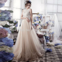 Romantic A Line Tulle Lace Wedding Dresses Vintage Backless Wedding Gowns Robe De Mariage 2019 Casamento Bride Dresses