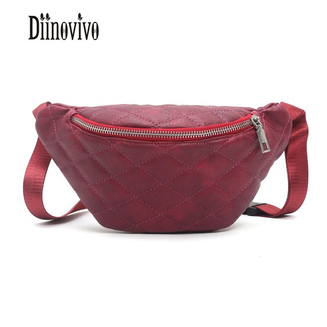 DIINOVIVO Fashion Chain PU Lychee Leather Fanny Pack Bananka Waterproof Antitheft Women Walking Shopping Belly Waist Bag DNV0557
