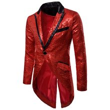 Laamei 2019 Men Gold Silver Red Black Sequin Slim Fit Tailcoat Stage Singer Prom Dresses Costumes Wedding Groom Suit Jackets(China)