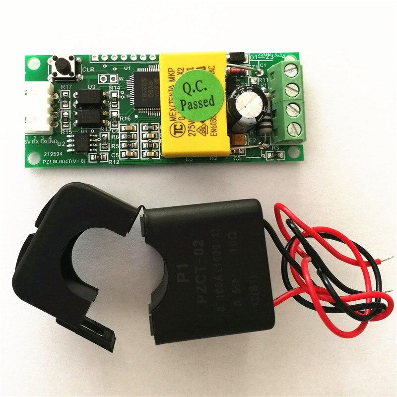 PEACEFAIR PZEM-004T AC 80-260V 100A TTL Port Voltmeter Electric Power Monitor Volt Amp Power Energy with Split CT