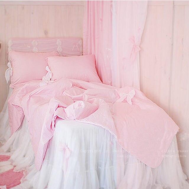 Susse Bogen Bettwasche Set 100 Baumwolle Rosa Weiss Prinzessin