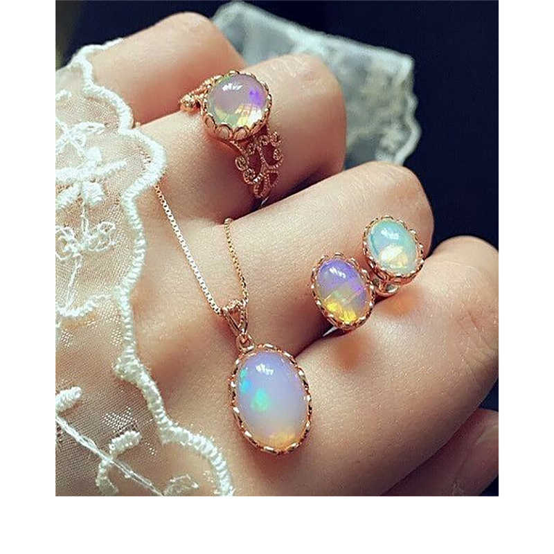 Elegant Luxury Design New Fashion Gold Filled Opal Pendant Necklace Stud Earrings Ring Jewelry Sets Women 3pcs Jewelry Sets