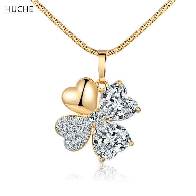3f607c3e4b1f Huche moda de alta calidad para las mujeres oro-color cubic zirconia Lucky  Clover metal Amuletos Colgantes joyería zp074