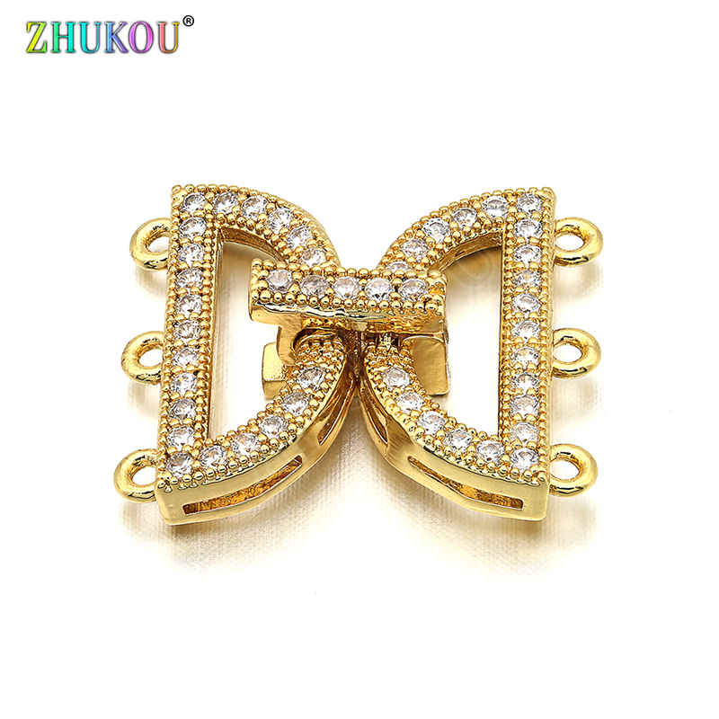 16*19mm Brass Cubic Zirconia Clasps Hooks For Diy Jewelry Findings Accessories, Mixed Color, Model: VK35