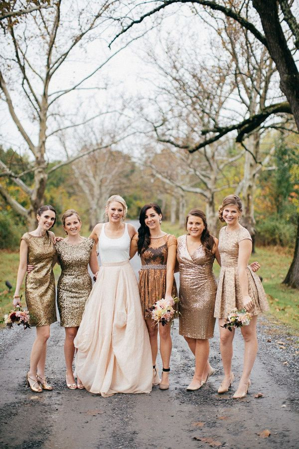 Rose Gold Sequins Bridesmaid Dresses Scoop