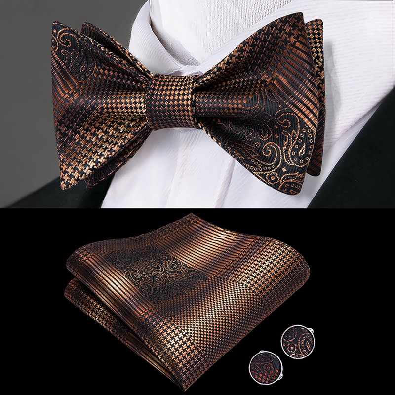 LH-2037 Hi-Tie Luxury 100% Silk Woven Men Butterfly Self Bow Tie New Plaid Brown BowTie Handkerchief Hanky Cufflinks Suit Set