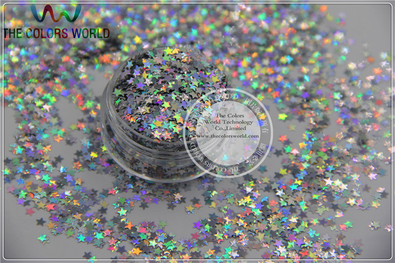 LM-1 Size 3 mm laser holographic Silver color Glitter paillette Stars shape spangles for Nail Art and DIY supplies1pack=50g hr25 148 mix 2 5 mm pastel matt pearlescent colors heart shape glitter for nail art and diy supplies1pack 50g