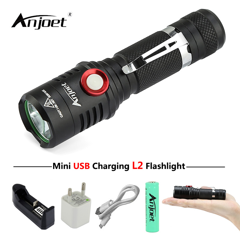 ANJOET USB Rechargeable flashlight xm-L2 led Torch Lamp camping Mini-portable light Lantern Torches+18650 Battery+charger