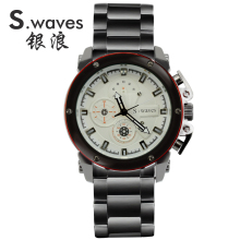 S WAVES Brand New Arrival Fashion Watch Mens Quartz Movement Full Stainless Steel Complete Calendar Analog