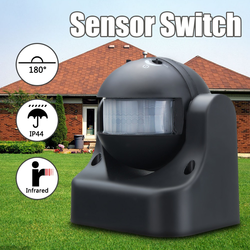 180 Degree Auto PIR Motion Sensor Detector Switch Home Garden Outdoor Light Lamp Switch Black