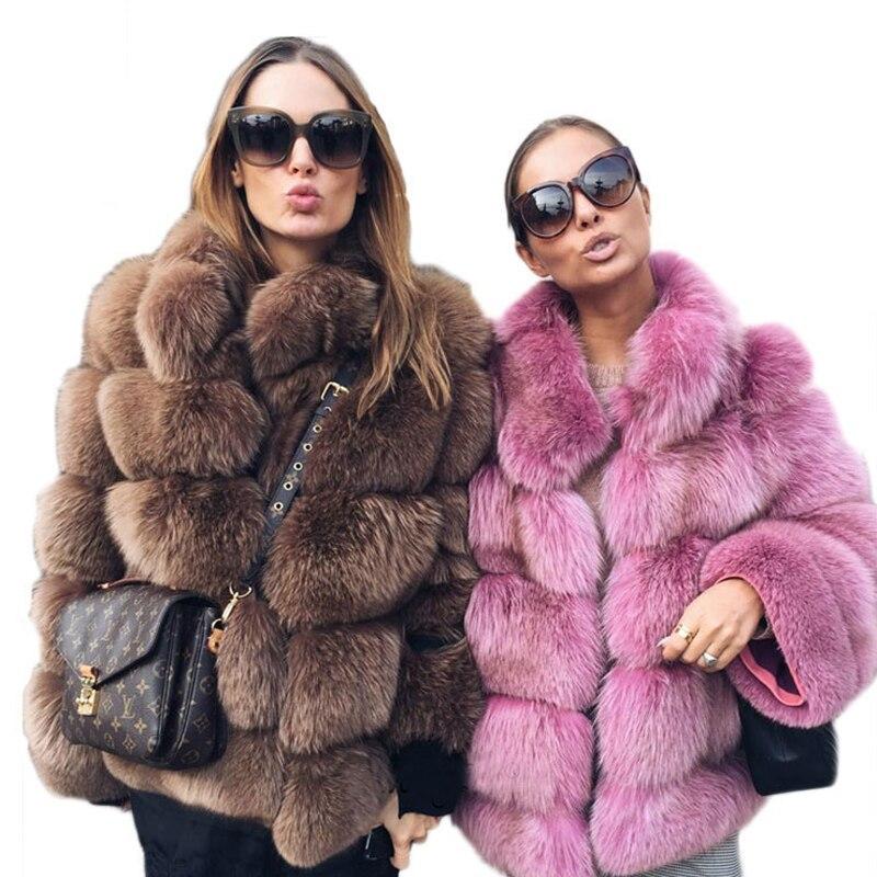 Élégant Faux Manteau De Fourrure Des Femmes Hiver Chaud Épais De Luxe Faux Manteau De Fourrure 2018 De Mode moelleux Manteaux Femme Fourrure Veste Survêtement LJLS078