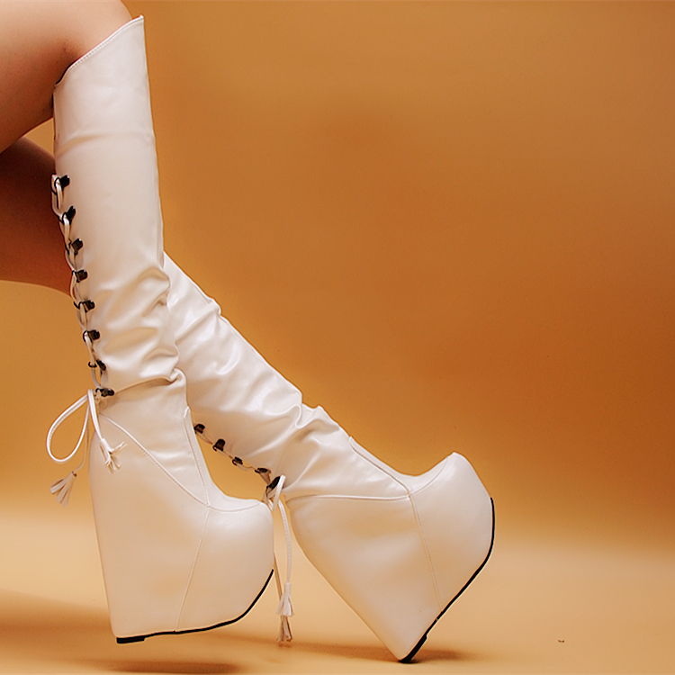 European and American nightclub autumn and winter boots High heels 16cm Slope with boots boots High boots red stylish european autumn