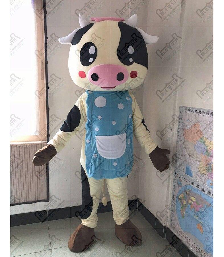Costume de mascotte de vache à lait de chef