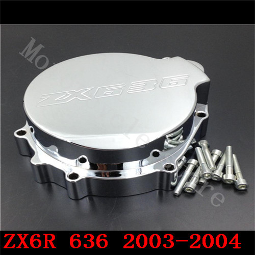 Fir for Kawasaki ZX6R ZX-6R ZX636 636 2003 2004 Motorcycle Engine Stator cover Chrome left side engine case alternator generator stator guard cover for kawasaki zx6r zx 6r zx636 zx 6r 636 2013 2014 2015 2016