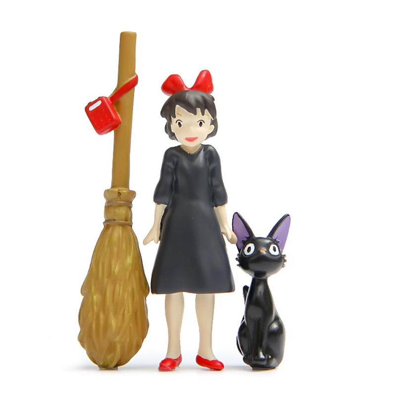 SJFC H-Q 3pcs / lot Studio Ghibli Hayao Miyazaki Servicio de entrega de Kiki Kiki & JiJi Cat & Magic Broom Figuras de acción Juguetes