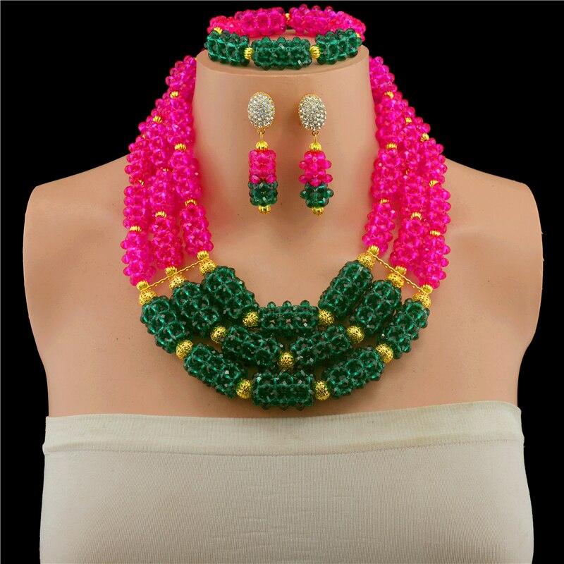 Splendide vert sarcelle Rose femmes bijoux en or ensemble de mariage perles africaines ensemble de bijoux déclaration collier ensemble livraison gratuite WD811