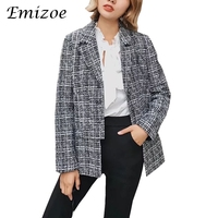 Emizoe Split Sexy Turn Down Collar Plaid Blazer Women 2017 Autumn Winter Basic Ladies Blazers Cool